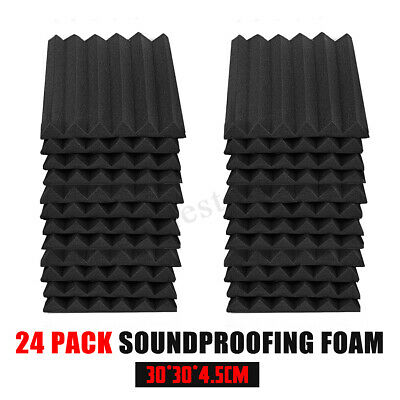 24 Pack Acoustic Foam Panel Wedge Studio Soundproofing Wall 12'' X 12'' X 1''