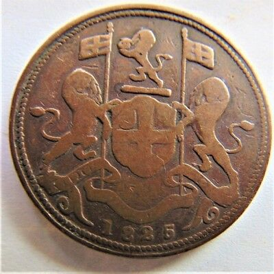 1825 MALAY PENINSULAR, PENANG, 2 Cents / Double Pice, grading About FINE. RARE.
