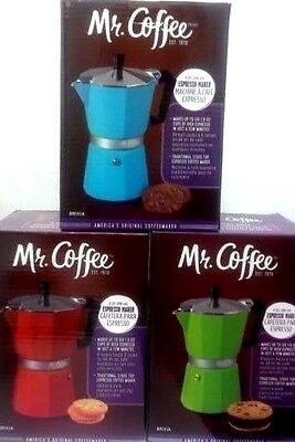 Mr. Coffee 6 Cup Espresso Maker For Stove top (You Pick )