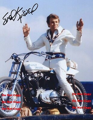 EVEL KNIEVEL AUTOGRAPHED 8X10 PHOTO EVIL Daredevil Man Cave Decor Sign Pic PIX