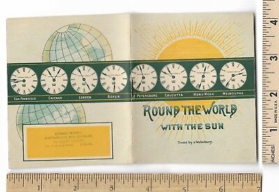 WATERBURY WATCH Round the World 8-page Booklet Watchmaker Jeweler Trade Card