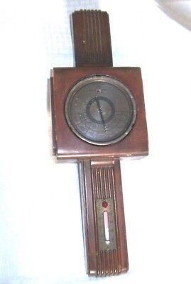 Vintage Taylor Instrument Co Berometer Pat 1612344 Rochester, NY StormGuise Wood