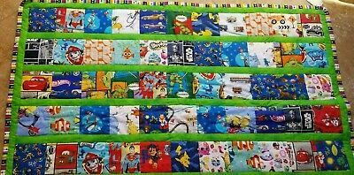child quilt handmade brand new 47x71 green cartoon characters multi color back
