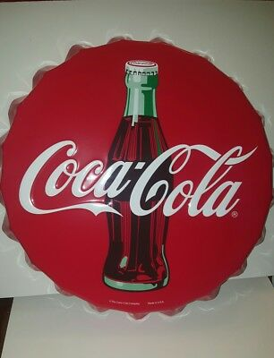 "Nice Embossed COCA COLA ""Bottle Cap"" Tin Sign. 22 Inches across"