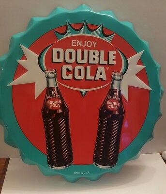 Double Cola embossed 22in round dome-shaped sign