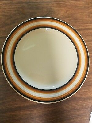Vintage~INCA WARE~Shenango China~5 SALAD PLATES~Tan~ORANGE Brown BLACK Stripe