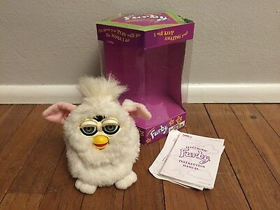 Furby (White) Model 70-800 by Tiger Electronics (1998) - With Box And Paperwork