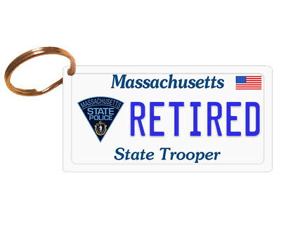 PERSONALIZED Massachusetts MA State Police License Plate Keychain or Magnet