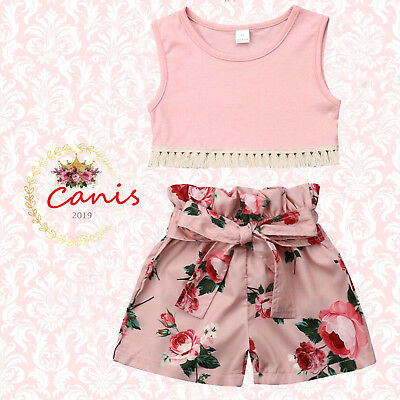 AU Infant Baby Girls Cotton Pink Shirt Tops+Floral Short Pants Outfits Clothes