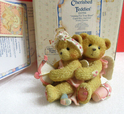 Cherished Teddies AIMING FOR YOUR HEART Cupid Boy & Girl Valentine Figurine