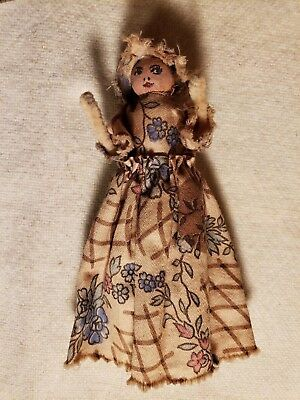 Antique Hand Made Doll For Old Clothes Pin Primitive Toy American Folk Art Nice
