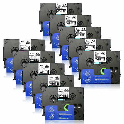 "10PK TZe221 compatible/Brother Labels 9mm 0.35""Black/white Laminated Tape PTH110"