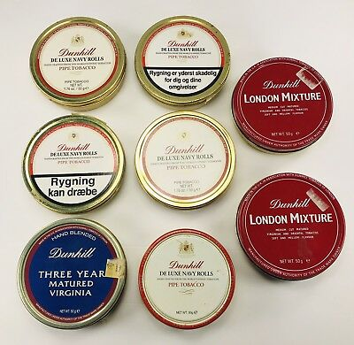 Vintage Lot Of 8 Pipe Tobacco Tins Dunhill