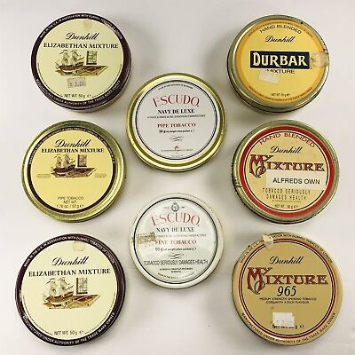 Vintage Lot Of  8 Dunhill Escudo Pipe Tobacco Tins