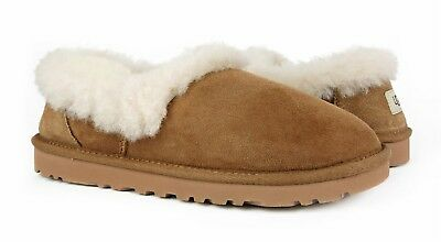 57fda5bd1f30 UGG NITA CHESTNUT Brown Suede Fur Slippers Womens Size 11  NIB ...