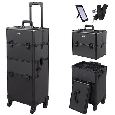 AW® 4 Wheel Aluminum Makeup Artist Lockable Cosmetic Train Case Storage Box 2in1