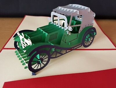 3D Pop up Classic Car Card.(Birthday, Get Well, Congrats, ... or All Occasions