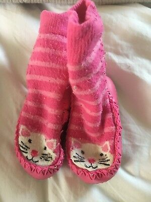 Jojo Maman Babe Slipper Socks Cats Girls 6-12 Months Very Sweet