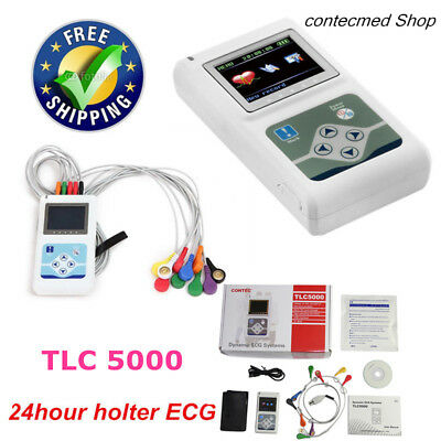 TLC5000 12-Lead Holter ECG 24hour Monitor Sync PC Software Analysis Newest 2019