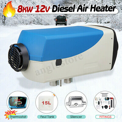 8KW 12V Diesel Air Heater LCD Thermostat w/ Control 15L Tank for Car Truck Boat