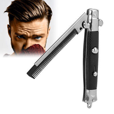 Automatic Push Button Pocket Folding Comb Switchblade Looking Hair Brush Knife