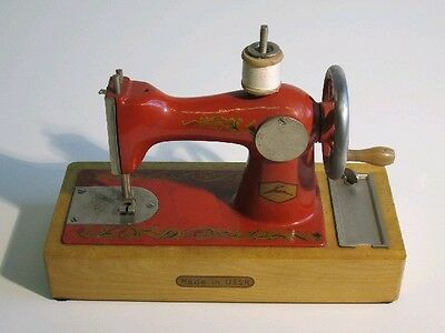 Vintage Model Toy Period Sewing Machine Wooden And Iron
