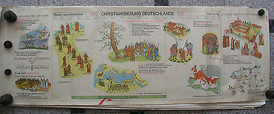 Wall Picture Geschichtsfries Christenheit Bible 139x50 Vintage History Map 1965