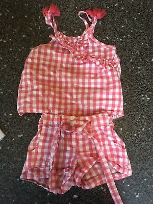 Country Road Girls Gingham Shorts And Camisole Size 4