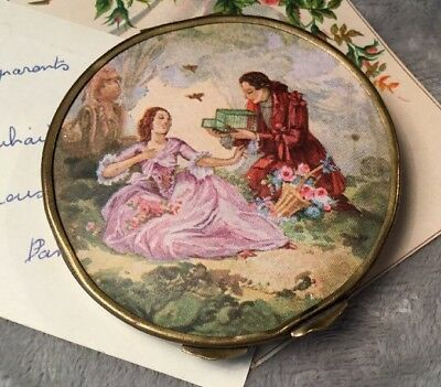 Antique original 1920s French courting couple round brass Powder Compact