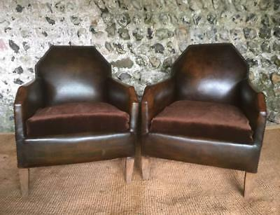 Pair Of Compact Antique French Conker Leather Club Arm Chairs C1940