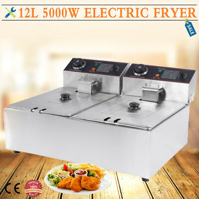 Large 12L Commercial Fryer Electric Twin Basket Double Tank Fish Chips HX-82A