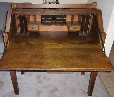 Antique Arts & Crafts Mission Style Oak Slant Top 3 Drawer Writing Desk