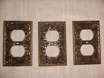 Lot of 3 Vintage Ornate Floral Filigree Brass Plated Outlet Wall Plate Covers