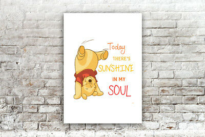 Inspirational Motivational Winnie The Pooh Sunshine Quote A4 Poster Print