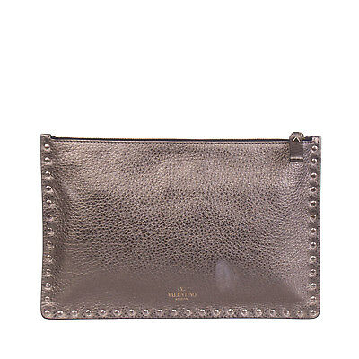 52e45d5791 VALENTINO GARAVANI Leather Clutch Bag Studded Zipped Made in Italy RRP €600