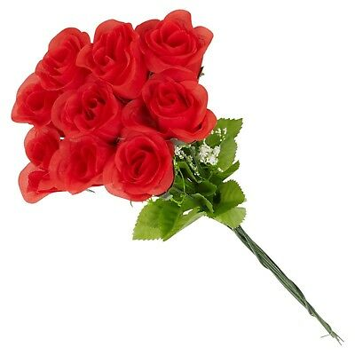 12 x Artificial Long Stemed Red Valentines Day Roses Bouquet Decor Faux Flowers