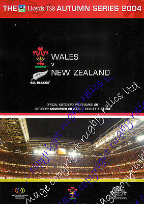 WALES v NEW ZEALAND ALL BLACKS 2004 RUGBY PROGRAMME