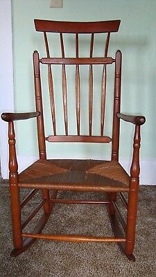 Primitive Antique Sheraton Comb Back Rocking Chair circa 1790