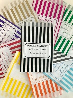 Personalised Sweet Bags Striped Candy Wedding Favour Birthday Party Bags