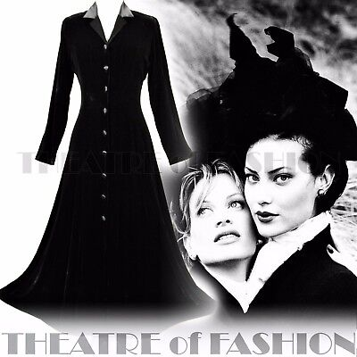 DRESS COAT SILK VELVET LAURA ASHLEY VINTAGE 8 6 40s RIDING VICTORIAN MISTRESS