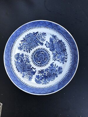 Antique Chinese Export Porcelain Blue And White Plate 19th Century's