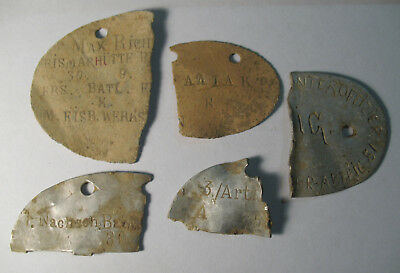 WWI and WWII German ID Badge Dog tag 5 pieces zinc aluminum 1914-1918, 1939-1945