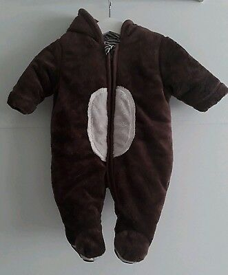 Brown Bear All-In-One Baby Snowsuit Pramsuit by Mothercare 0-3 months