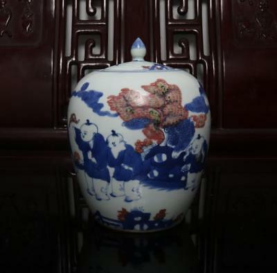 Old Fine Blue and White Chinese Porcelain Pot with Lid H7.09""
