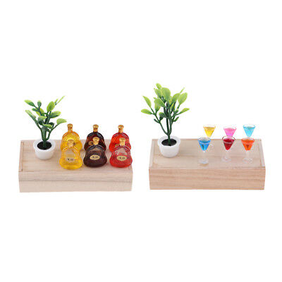 Mini Green Plant Wooden Box Wine Bottles Dollhouse Miniatures for 1/12 Scale