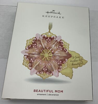Hallmark Keepsake 2019 Beautiful Mom Flower Glass and Metal Ornament