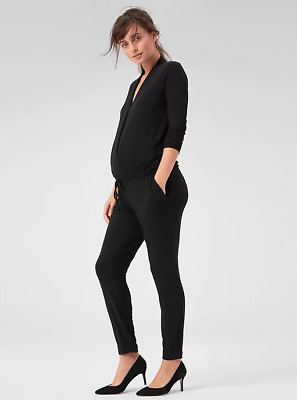 Gap NWT NEW Maternity Long Sleeve Wrap Black Jumpsuit Small $59