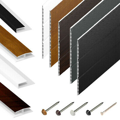 Hollow Soffit Board / White UPVC Plastic Panel Cladding & Trims - 5m Lengths