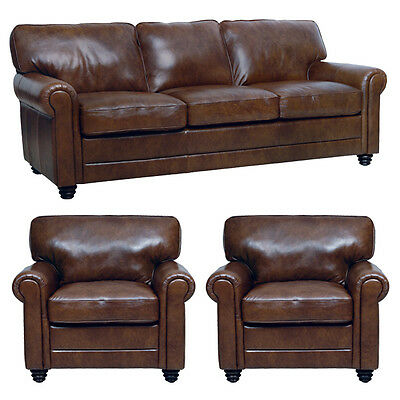 """New Luke Leather Italian Brown Down 3 Piece Set - 1 Sofa and 2 Chairs """"Andrew"""""""