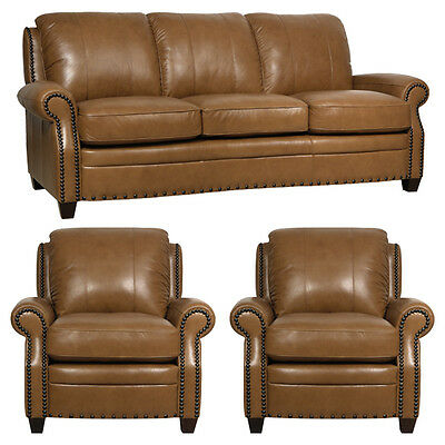 """New Luke Leather """"Bennett""""1 Sofa and 2 Chairs Wheat Brown Leather Studs$3800"""